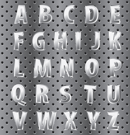 textual: vector metal alphabet on perforated surface Illustration
