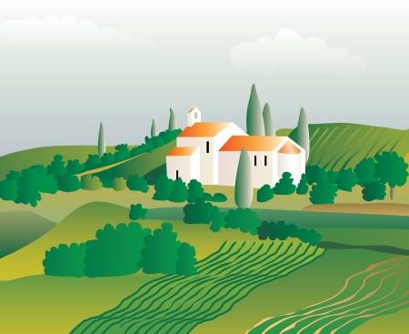 zypresse: Vektor abstrakte Landschaft mit Kirche im Weinberg
