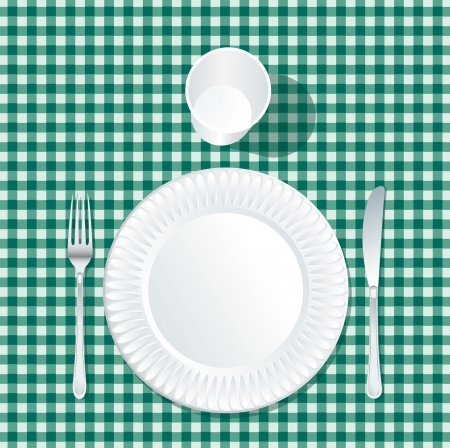 picnic tablecloth: vector paper plate with plastic glass on green tablecloth