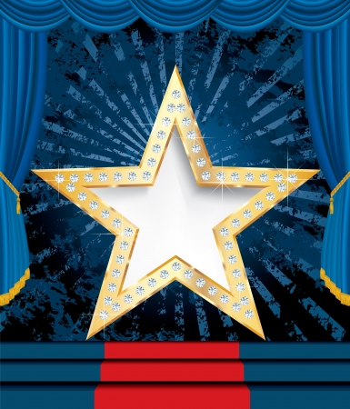 red carpet: blank golden star with diamonds on blue stage