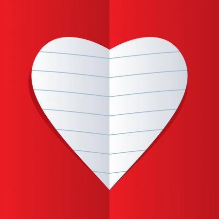 vector heart of notebook paper  Illustration
