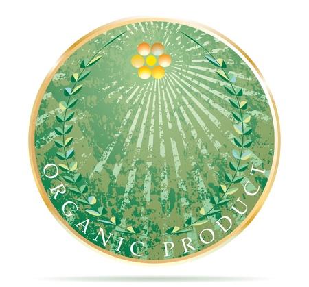 golden laurel wreath: vector label for organic products  Illustration