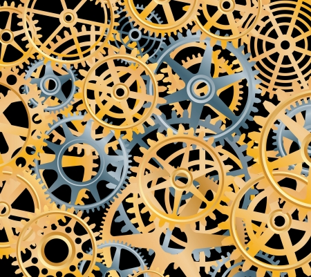 Background with silver and golden gears Stock Vector - 20170279
