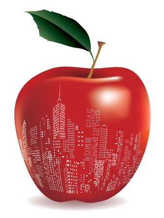 Abstract red apple New York sign Vector