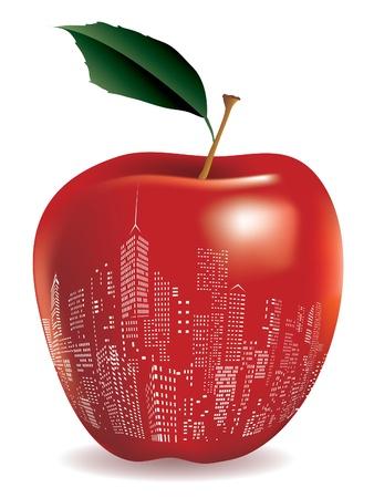 mela rossa: Astratto rosso mela New York segno Vettoriali