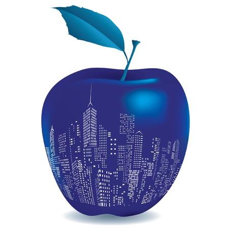 Ilustración de la gran manzana azul Foto de archivo - 20170298
