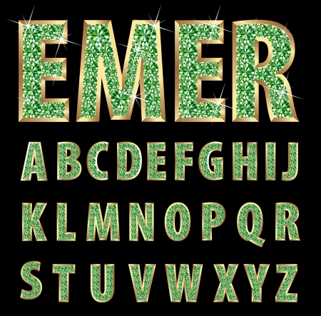 golden alphabet with emeralds Vector
