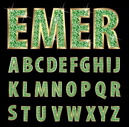 emerald gemstone: golden alphabet with emeralds
