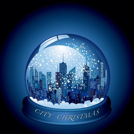 city block: city snow globe