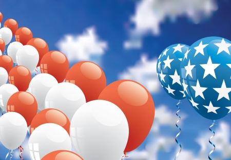 patriotic background with balloons over cloudy sky Vector
