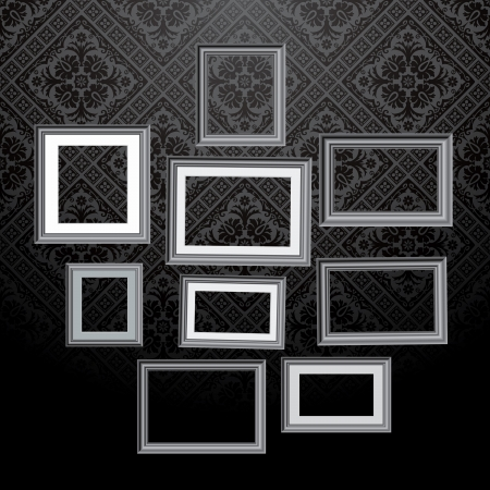 Vintage Empty Black And White Frames On Baroque Wallpaper Royalty ...