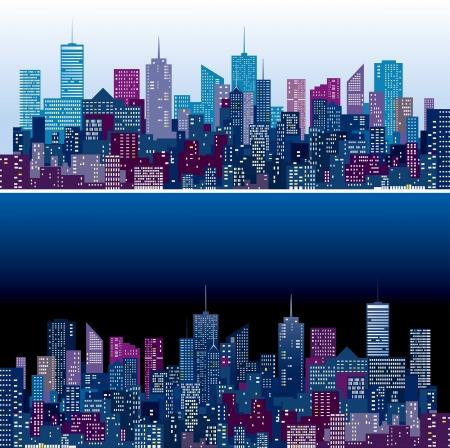 두 보라색과 푸른 색 버전에서 도시의 스카이 라인