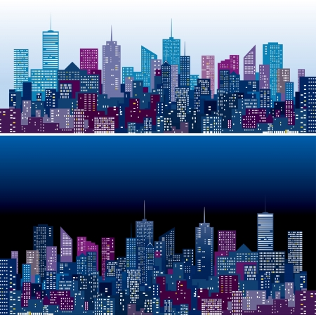 night and day: city skylines in two purple and blue color versions  Illustration