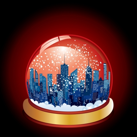 urbanization: Christmas in the city with snow globe