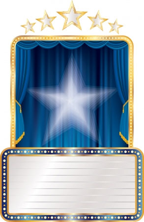 blue stage with stars and blank billboard  Vector