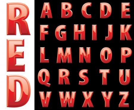 blood type: alfabeto rojo brillante