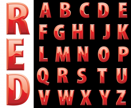 red shiny alphabet Stock Vector - 20891082