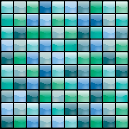 ceramic tile: vector shiny tiles seamless pattern in green and blue