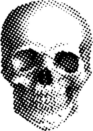 최고의 T-셔츠에 silkprint 점으로 구분 된 두개골과 간단한 그림을 벡터