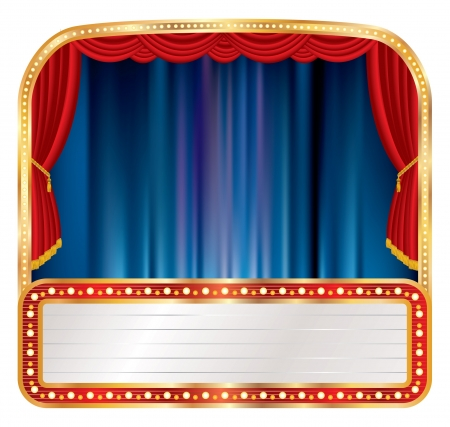 marquee sign: illustrazione del palco con il cartellone bianco Vettoriali