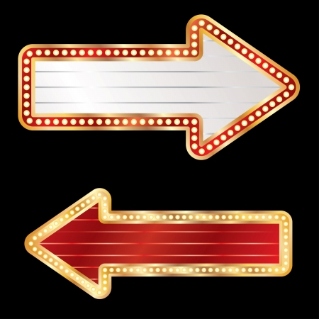 neon sign: blank arrows with bulb lamps Illustration