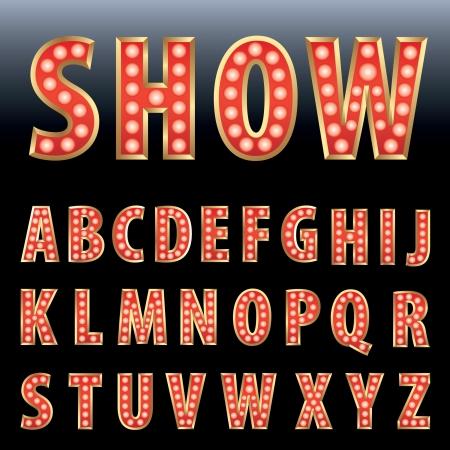 display type: espect�culo rojo alfabeto negocio con l�mparas de bulbo