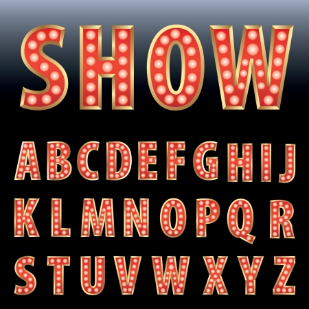 red show business alphabet with bulb lamps  Vector