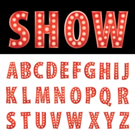 red entertainment letters with bulb lamps