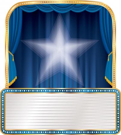 ブランクの看板と白い星青い段階 写真素材 - 21137260