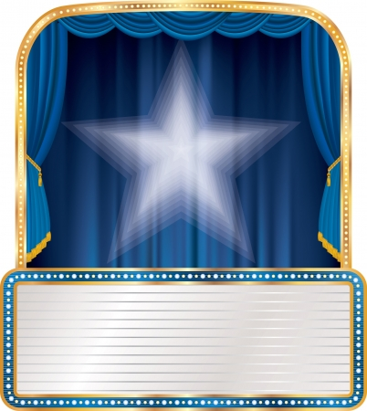 curtain: blue stage with white star and blank billboard
