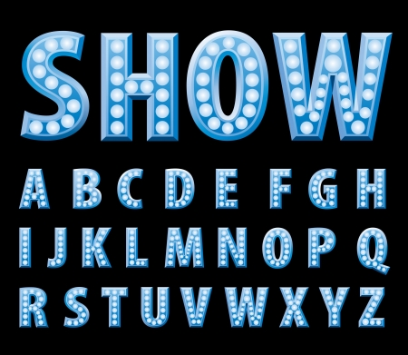 textual: blue entertainment and show letters with bulb lamps