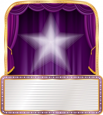 vector purple stage with white star and blank billboard Vector