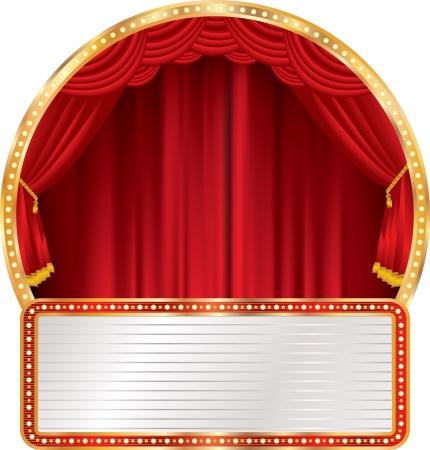 fondo de circo: vector etapa círculo con la cartelera en blanco