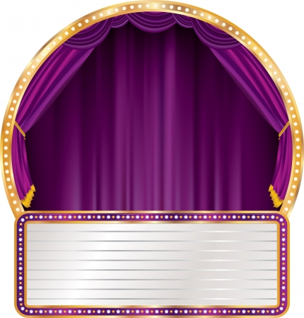 marquee: vector purple circle stage with blank billboard