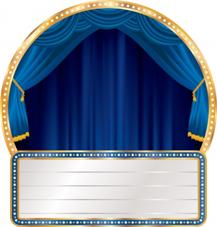 marquee sign: vector blue circle stage with blank billboard