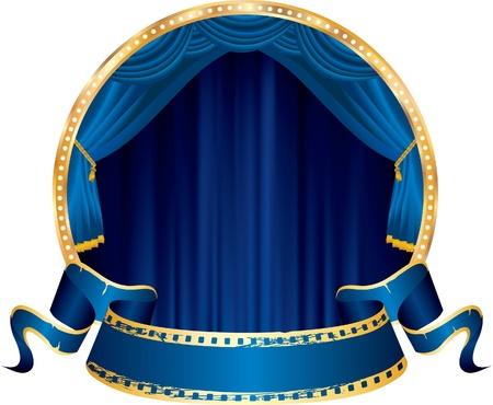 ベクトル青いカーテンとサークル ステージ上の青い空のバナーの穿孔 写真素材 - 21529383