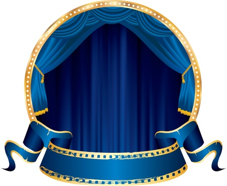 perforation tape: vector perforated blue blank banner on circle stage with blue curtain Illustration
