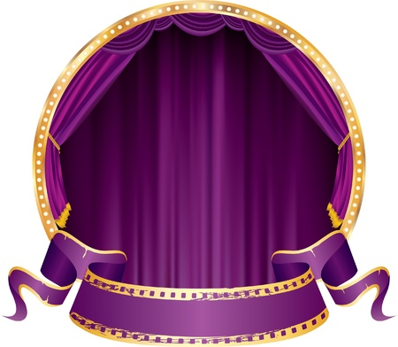 vector perforated purple blank banner on circle stage with violet curtain Vector