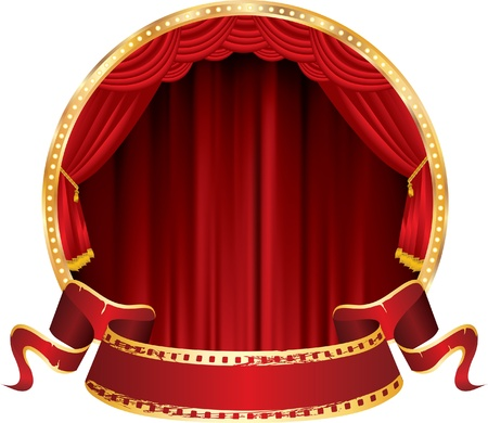 vector perforated red blank banner on circle stage with red curtain Vector