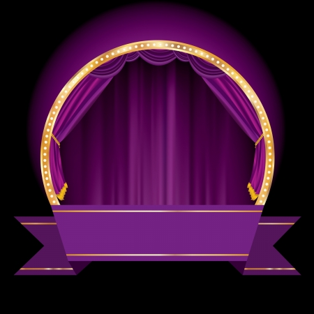 las vegas strip: vector violet background with circle stage and blank banner