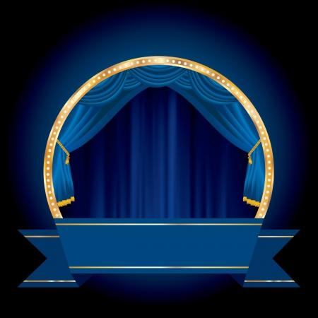 las vegas strip: vector blue blank banner on circle stage with blue curtain Illustration