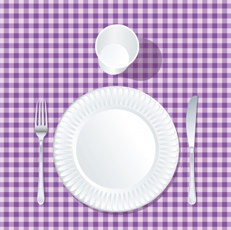 picnic tablecloth: vector paper plate with plastic glass on violet tablecloth
