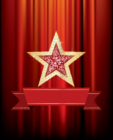 vector golden star with rubys, diamonds and blank banner on red curtain Vector