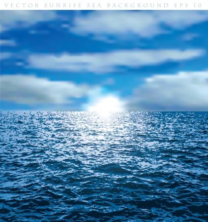 vector de fondo nublado con la salida del sol sobre el océano Ilustración de vector