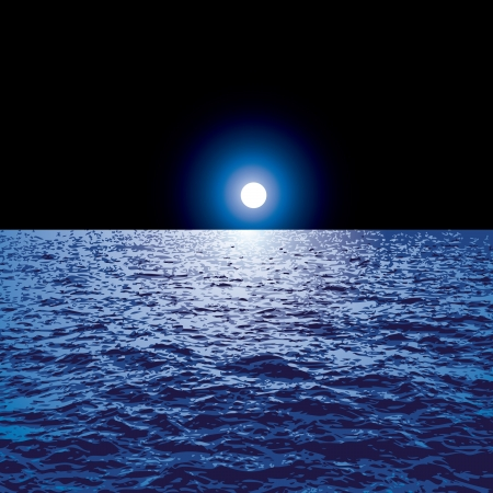 vector blue background with moon over the ocean Illustration