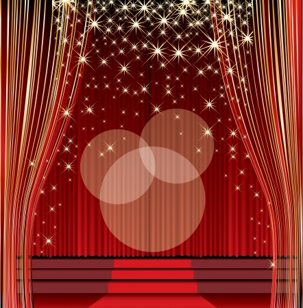 vector empty red stage with falling stars Illustration