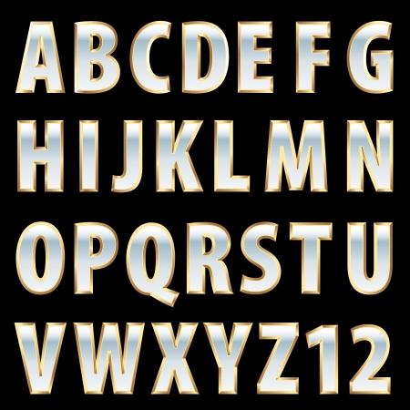 vector golden and white porcelain alphabet Stock Vector - 21529431
