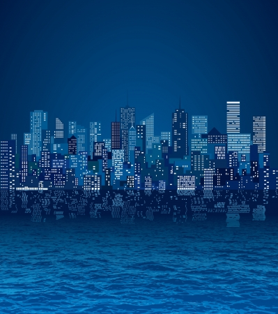 city skylines with reflection in water Vector