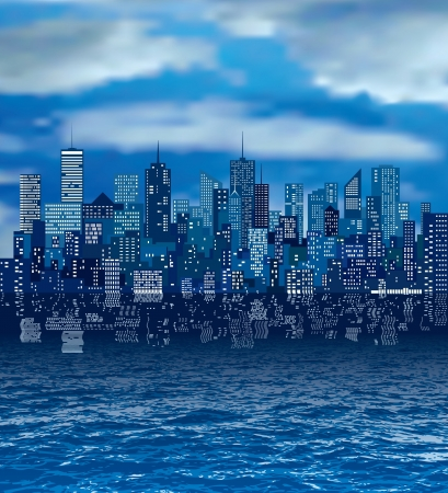 cloudy city skylines with reflection in water Ilustração