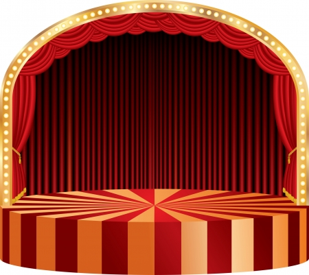 small lamp: vector circle circus or theater stage with red curtain